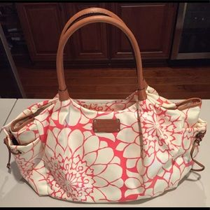 Kate Spade Shoulder/Purse Diaper Bag Fuchsia/Creme